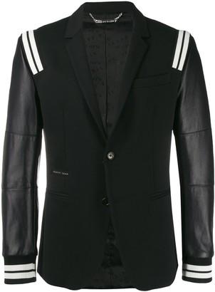 Philipp Plein Leather-Panelled Blazer