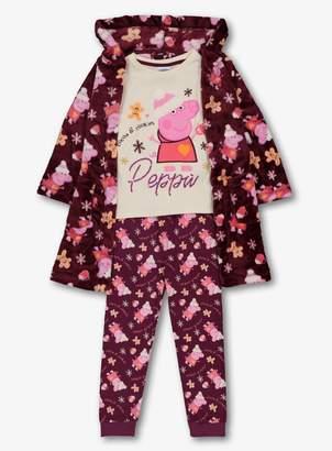 Peppa Pig Tu Christmas Purple 3 Piece Pyjama Set