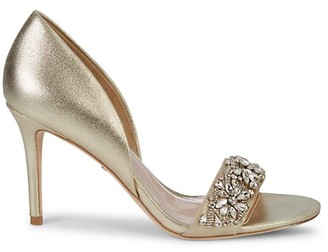 Badgley Mischka Metallic Leather Crystal Sandals