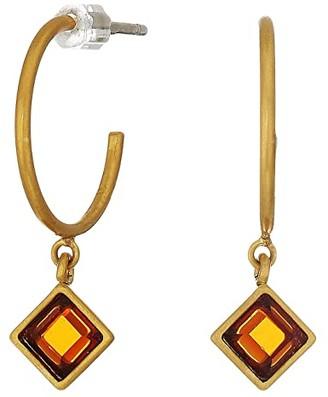 Madewell Mixed Stone Charm Hoop Earrings (Vintage Gold) Earring