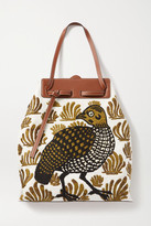 Loewe Lazo Leather-trimmed Embroidered Linen-canvas Tote - Green