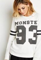 Forever 21 Monster Varsity-Striped Sweatshirt