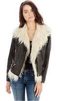 True Religion Faux Fur Womens Moto Jacket