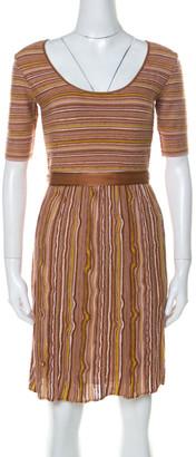 M Missoni Brown Striped Knit Scoop Neck Short Sleeve Dress M