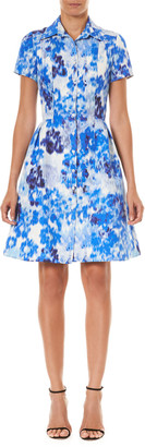 Carolina Herrera Floral Print Short-Sleeve Shirtdress