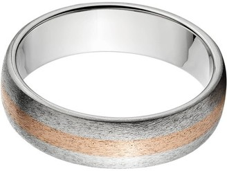 Online 6mm Half-Round Titanium Ring with a 2mm Copper Inlay and a Stone Finish
