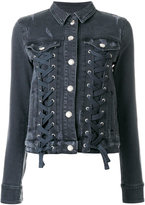 Versus lace up denim jacket - women - Cotton/Spandex/Elastane - 40