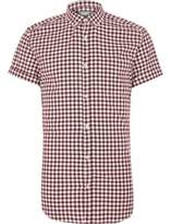 River Island Mens Red gingham slim fit short sleeve shirt