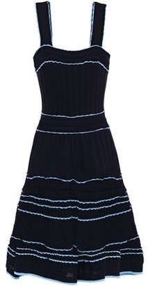 Sandro Honore Flared Crochet-trimmed Textured Knitted Dress