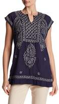 Max Studio Embroidered Cap Sleeve Tunic Blouse