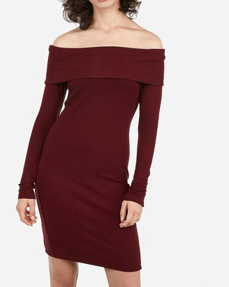 Express Off The Shoulder Ribbed Cozy Sheath Dress