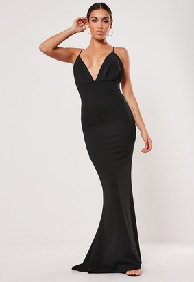 Missguided Black Pleated Bust Fishtail Maxi Dress