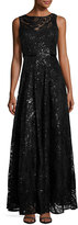 Karl Lagerfeld Sequin-Embellished Swing Gown, Black