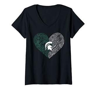 Tailgate Womens Michigan State Spartans Lace Heart Print Gameday V-Neck T-Shirt