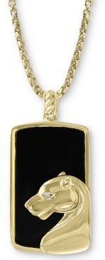 """Effy Men's Onyx & Diamond Accent 22"""" Panther Pendant Necklace in 14k Gold"""