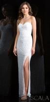 Scala Strapless Sweetheart Fully Beaded Evening Dress