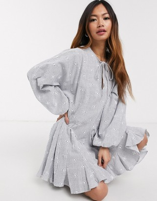 Asos DESIGN trapeze mini smock dress with godets in stripe broderie
