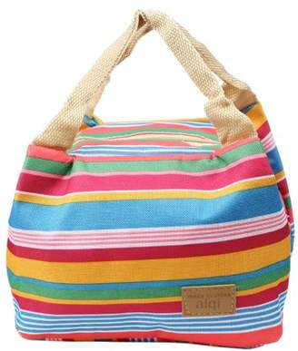 Unique Bargains Canvas Picnic Lunch Drink Thermal Insulated Cooler Tote Storage Bags