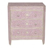 The Well Appointed House Small Three Drawer Bone Chest with Pink Inlay-ON BACKORDER UNTIL AUGUST 2016