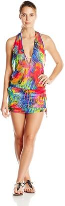 Luli Fama Women's Mundo De Colores T Back Mini Cover Up Dress