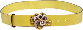 Roberto Cavalli Yellow Leather Flower Snake Buckle Belt 95CM
