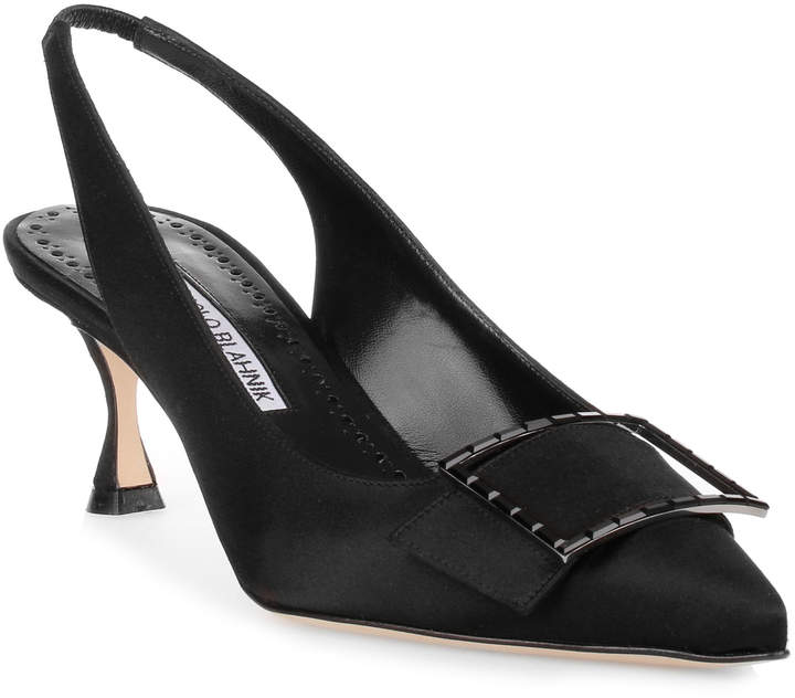 Manolo Blahnik Conchita 50 black satin pump