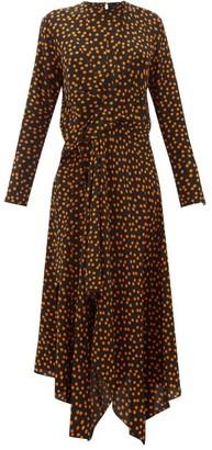 Petar Petrov Dovery Asymmetric Polka-dot Silk Dress - Womens - Black Orange