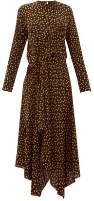 Petar Petrov Dovery Polka-dot Print Asymmetric Silk Dress - Womens - Black Orange