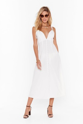 Nasty Gal Womens Tie to Dig Deep Button-Down Midi Dress - white - 4