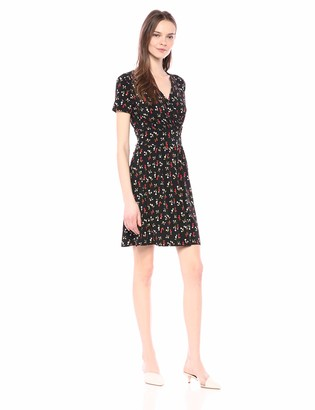 Lark & Ro Amazon Brand Women's Short Sleeve Fixed Wrap Waistband Dress