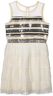 BCBGMAXAZRIA Girls Tiered Pleated Mesh Sequin Dress (Big Kids)
