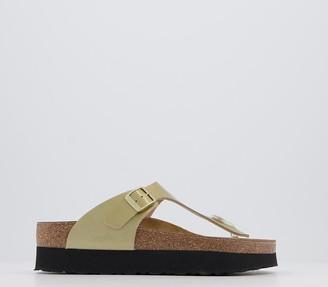 Birkenstock Papillio Gizeh Platform Sandals Metallic Gold