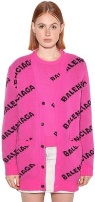 Balenciaga Logo Jacquard Wool Knit Maxi Cardigan
