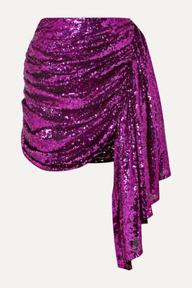 16Arlington Draped Sequined Tulle Mini Skirt
