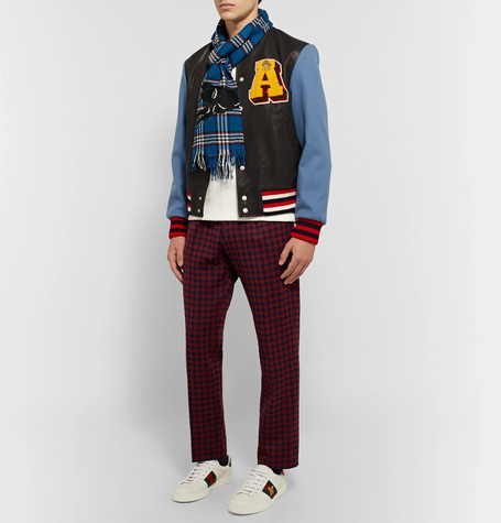 Gucci Embroidered Checked Wool Scarf