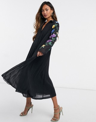 ASOS DESIGN pleated midi shirt dress with embroidered sleeves in black