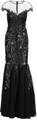 Teri Jon By Rickie Freeman Cap Sleeve Illusion Sequin & Applique Tulle Mermaid Gown