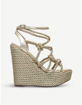 Kurt Geiger London Notty metallic rope-detail wedge sandals