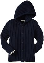 Jo-Jo JoJo Maman Bebe Rib Hooded Cardigan (Toddler/Kid) - Navy-2-3 Years