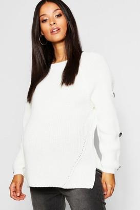 boohoo Maternity Horn Button Fisherman Knit Sweater