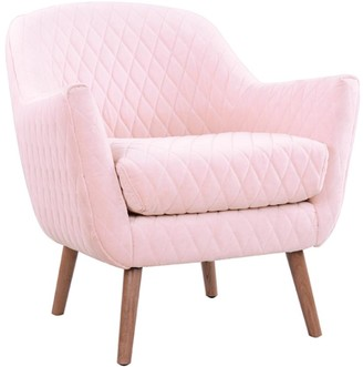 Darcy And Duke Club Chair Baby Pink With Oak Legs