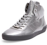 Bally Eroy Patent Leather High-Top Sneaker, Silver