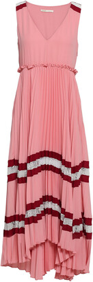 Maje Ritello Lace-trimmed Pleated Striped Crepe Midi Dress
