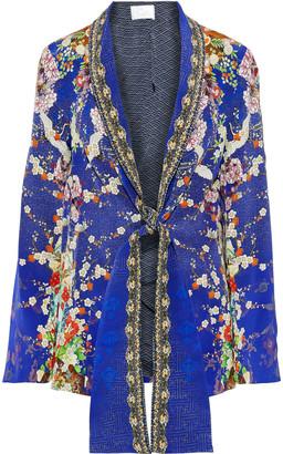 Camilla Maikos Midnight Crystal-embellished Printed Silk Crepe De Chine Blazer
