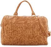 Neiman Marcus Woven Weekender Bag, Honey
