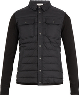 Moncler Quilted-panel nylon and wool-blend jacket