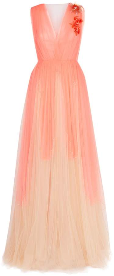 DELPOZO V-Neck Tulle Gown