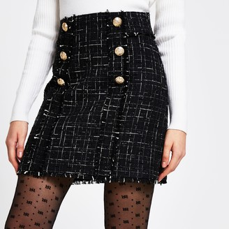 River Island Womens Black boucle gold button mini skirt