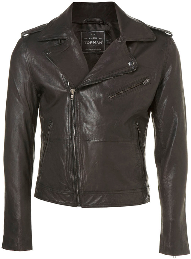 Topman Black Real Leather Biker Jacket