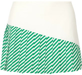 Tory Sport Pleated Striped Stretch-jersey Tennis Skirt - Green